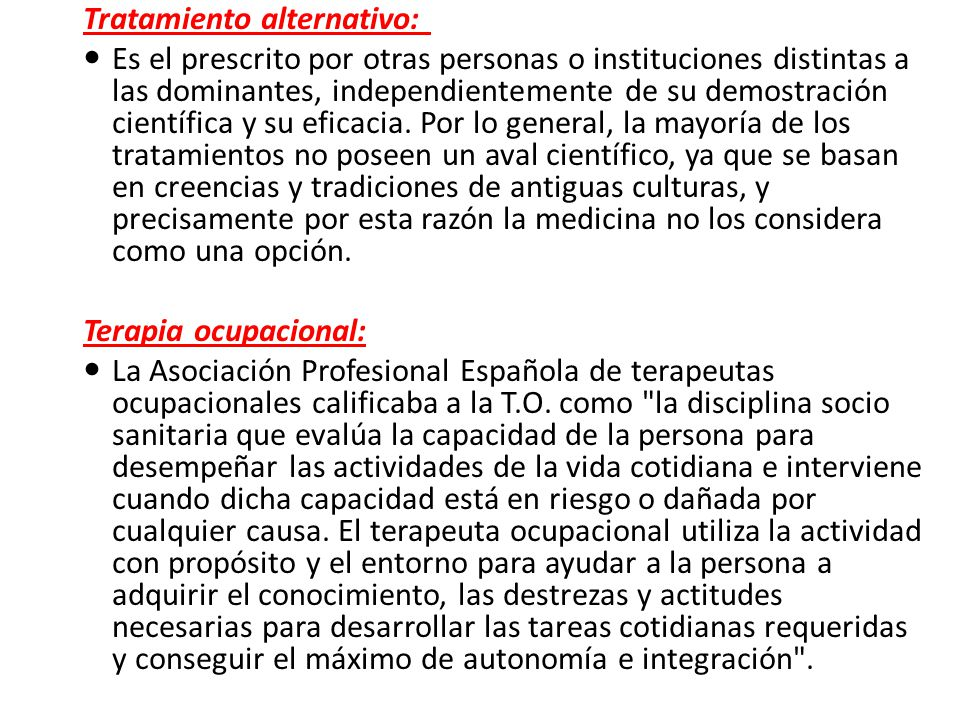 Tratamiento alternativo: