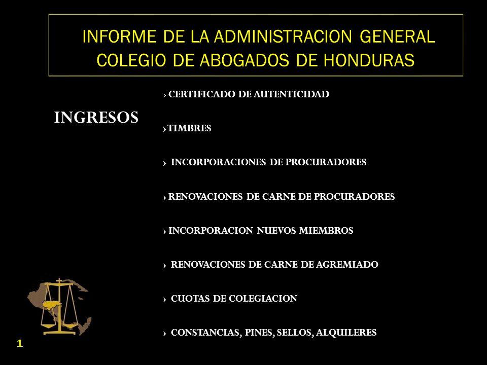 INFORME DE LA ADMINISTRACION GENERAL COLEGIO DE ABOGADOS DE HONDURAS