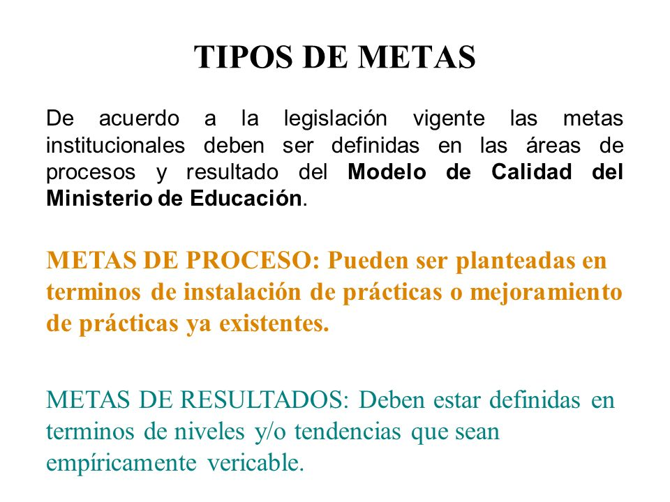 TIPOS DE METAS