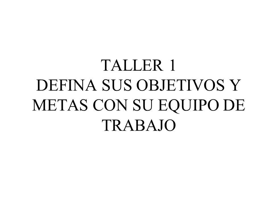 TALLER 1 DEFINA SUS OBJETIVOS Y METAS CON SU EQUIPO DE TRABAJO