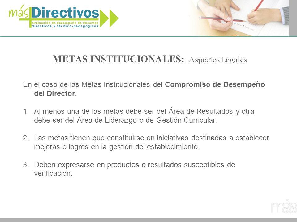 METAS INSTITUCIONALES: Aspectos Legales
