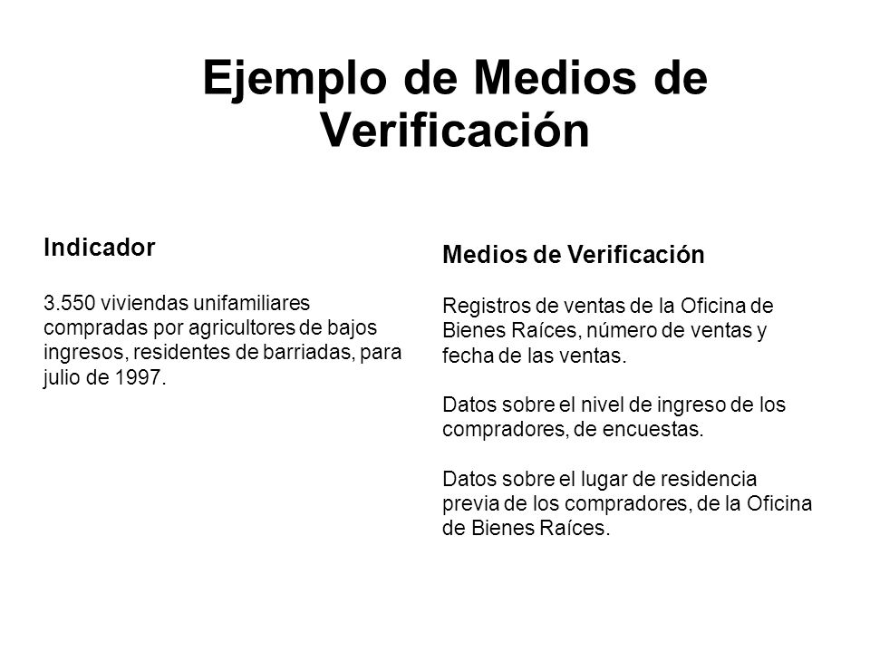 Ejemplo de Medios de Verificación