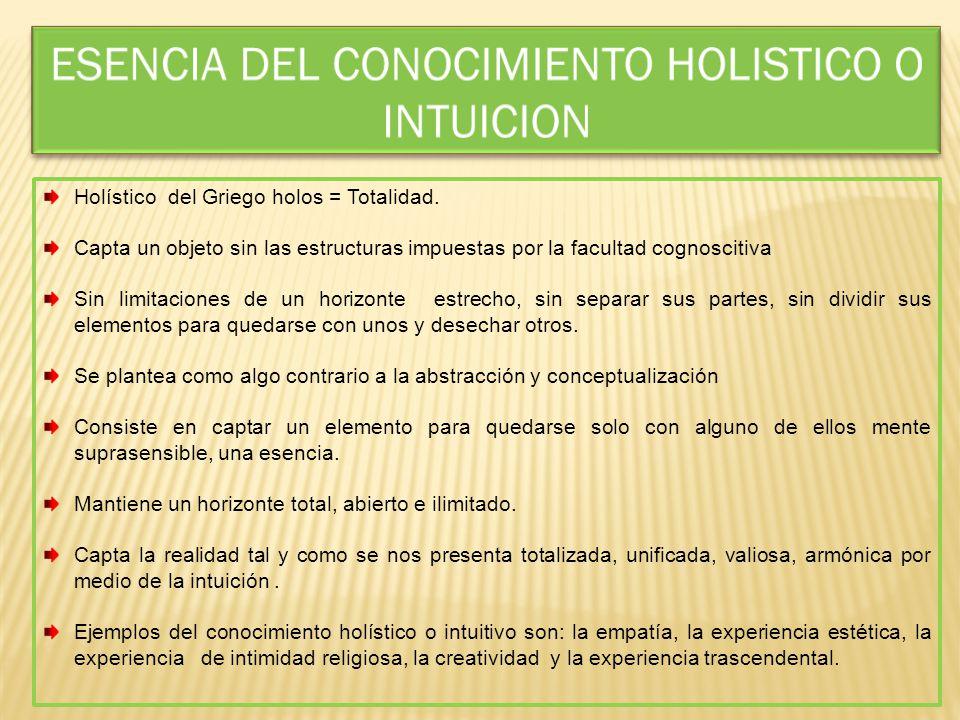 ESENCIA DEL CONOCIMIENTO HOLISTICO O INTUICION