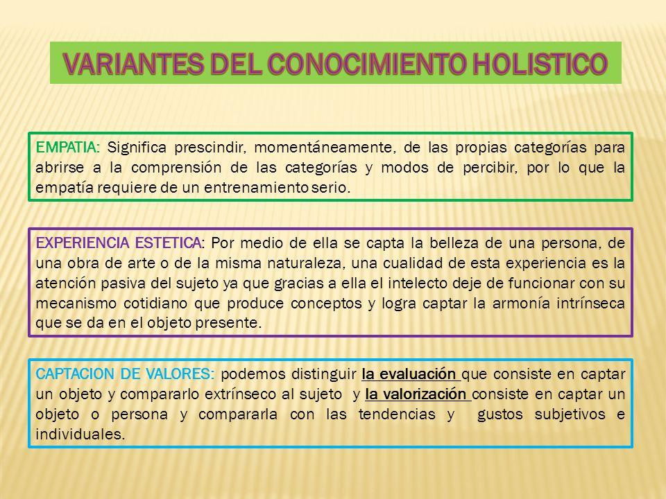 VARIANTES DEL CONOCIMIENTO HOLISTICO