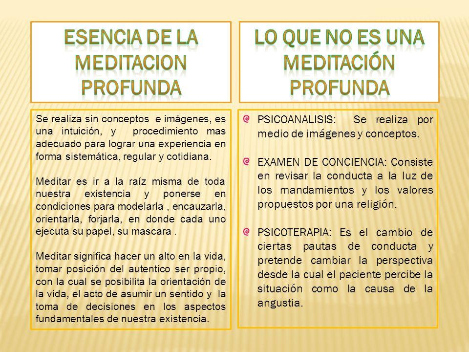 ESENCIA DE LA MEDITACION PROFUNDA Lo que no es una meditación profunda