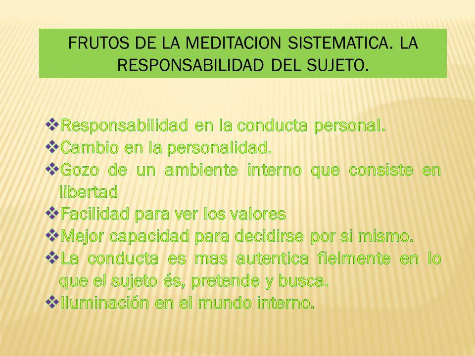 FRUTOS DE LA MEDITACION SISTEMATICA. LA RESPONSABILIDAD DEL SUJETO.