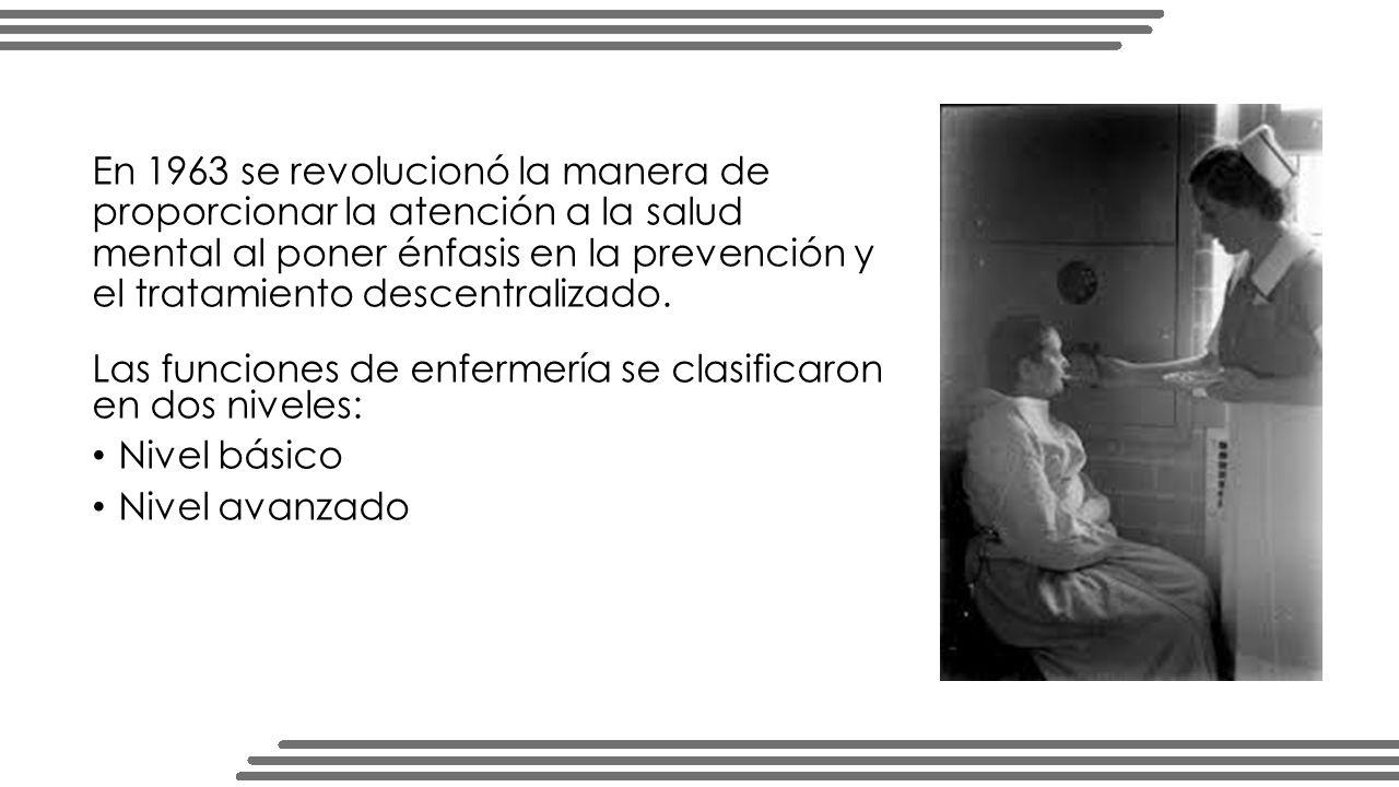 En 1963 se revolucionó la manera de proporcionar la atención a la salud mental al poner énfasis en la prevención y el tratamiento descentralizado.