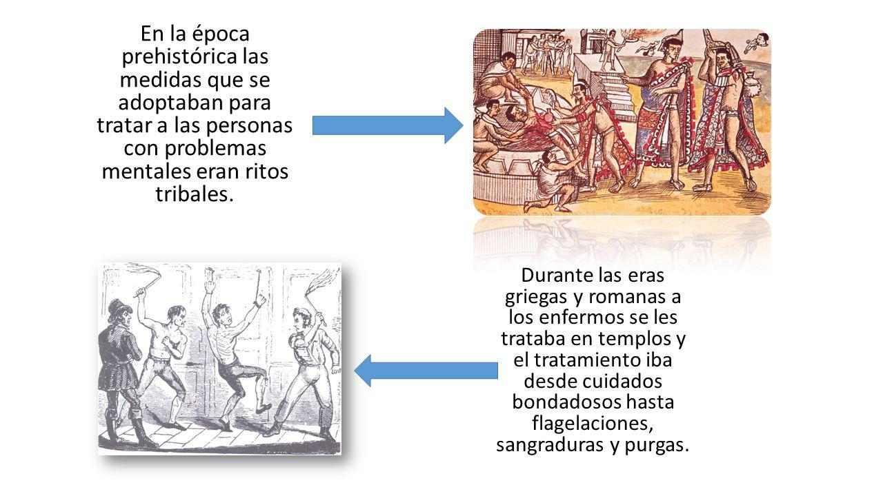 En la época prehistórica las medidas que se adoptaban para tratar a las personas con problemas mentales eran ritos tribales.