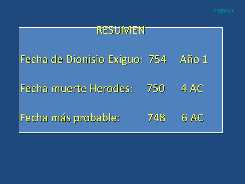 Fecha de Dionisio Exiguo: 754 Año 1 Fecha muerte Herodes: 750 4 AC