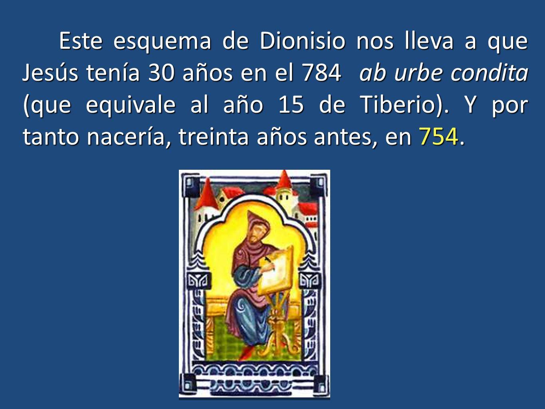 Este esquema de Dionisio nos lleva a que Jesús tenía 30 años en el 784 ab urbe condita (que equivale al año 15 de Tiberio).