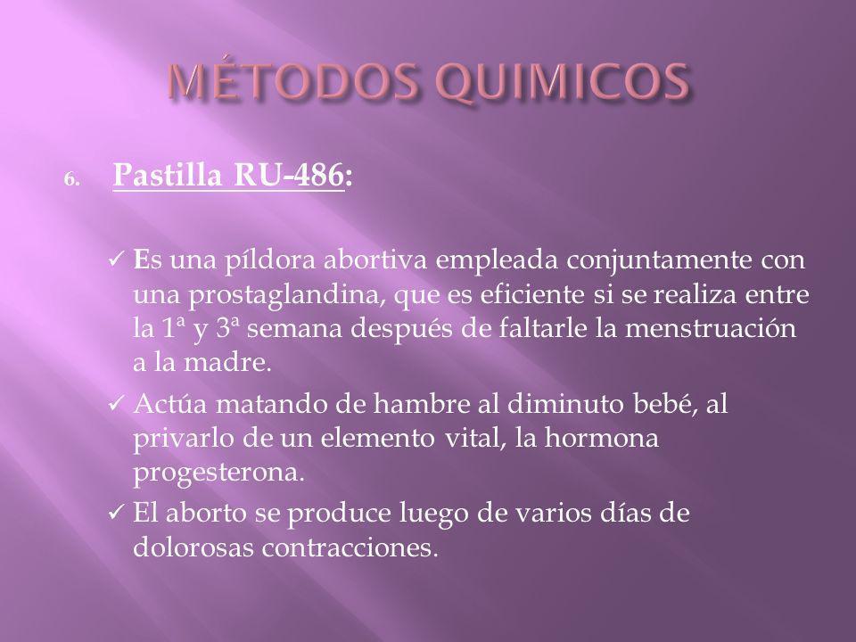 MÉTODOS QUIMICOS Pastilla RU-486: