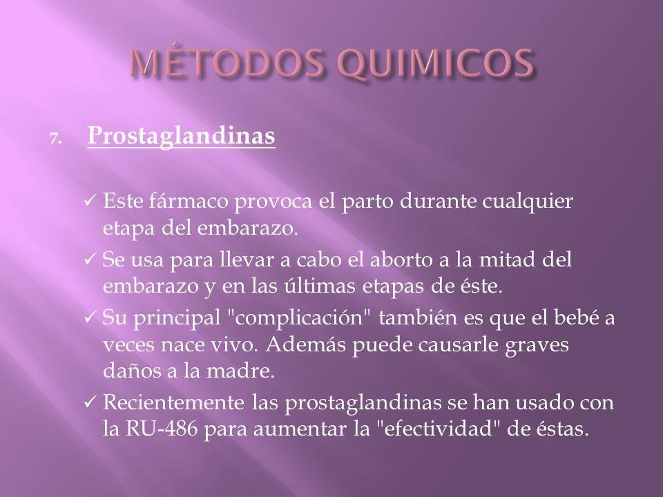 MÉTODOS QUIMICOS Prostaglandinas