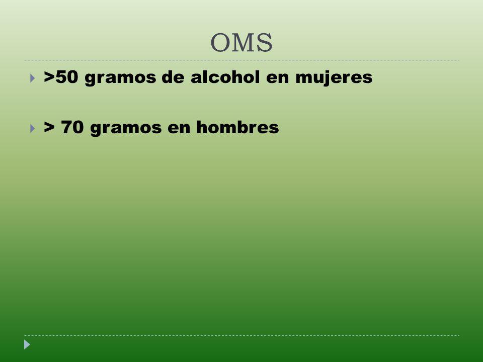 OMS >50 gramos de alcohol en mujeres > 70 gramos en hombres
