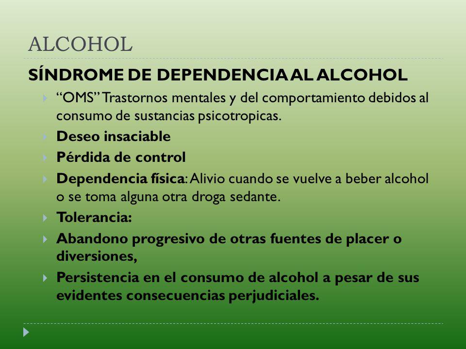 ALCOHOL SÍNDROME DE DEPENDENCIA AL ALCOHOL