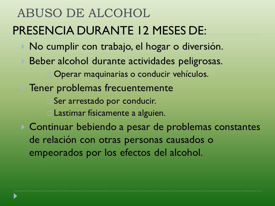 PRESENCIA DURANTE 12 MESES DE: