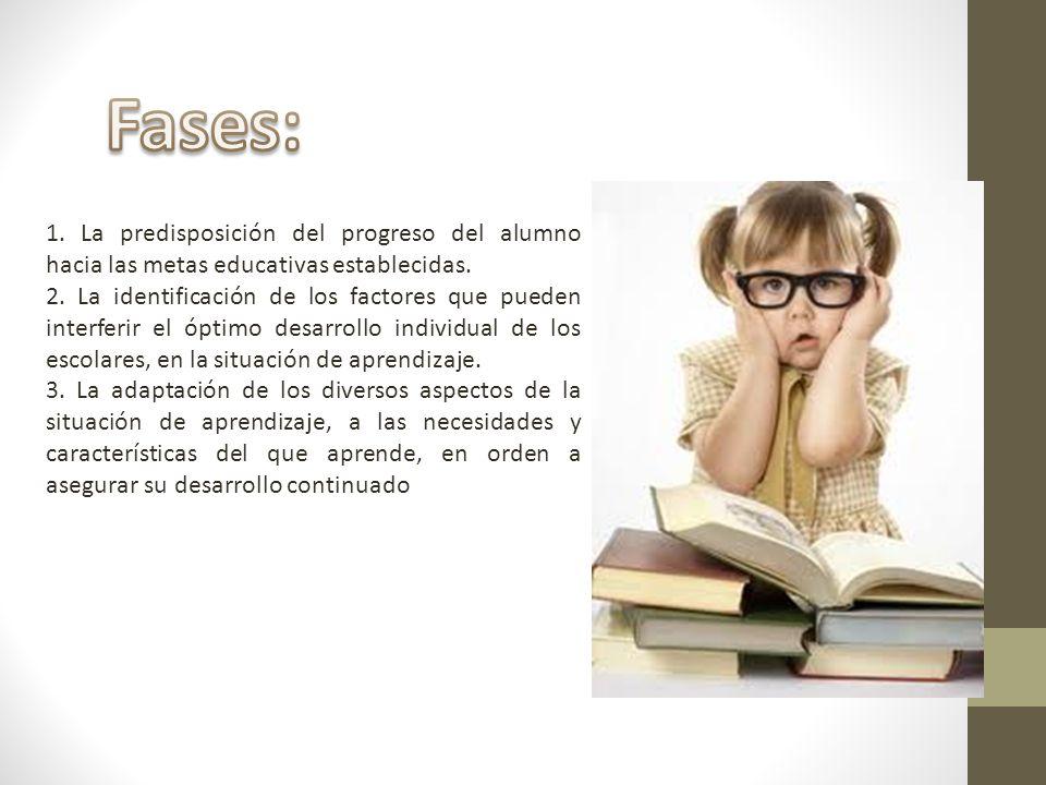 Fases: 1. La predisposición del progreso del alumno hacia las metas educativas establecidas.