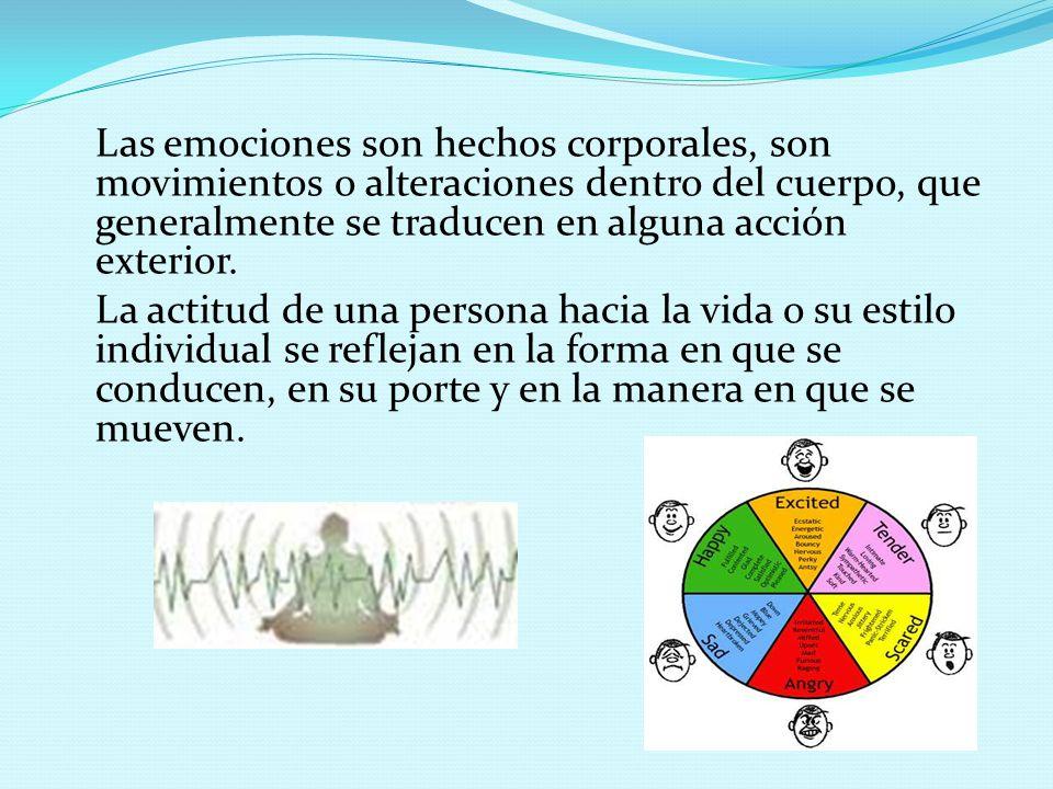 Las emociones son hechos corporales, son movimientos o alteraciones dentro del cuerpo, que generalmente se traducen en alguna acción exterior.