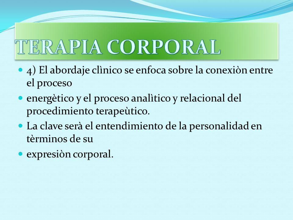 TERAPIA CORPORAL 4) El abordaje clìnico se enfoca sobre la conexiòn entre el proceso.