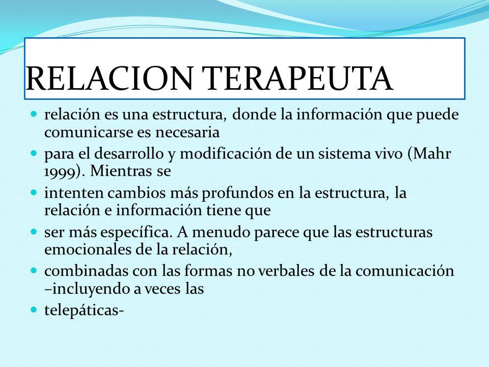 RELACION TERAPEUTA relación es una estructura, donde la información que puede comunicarse es necesaria.