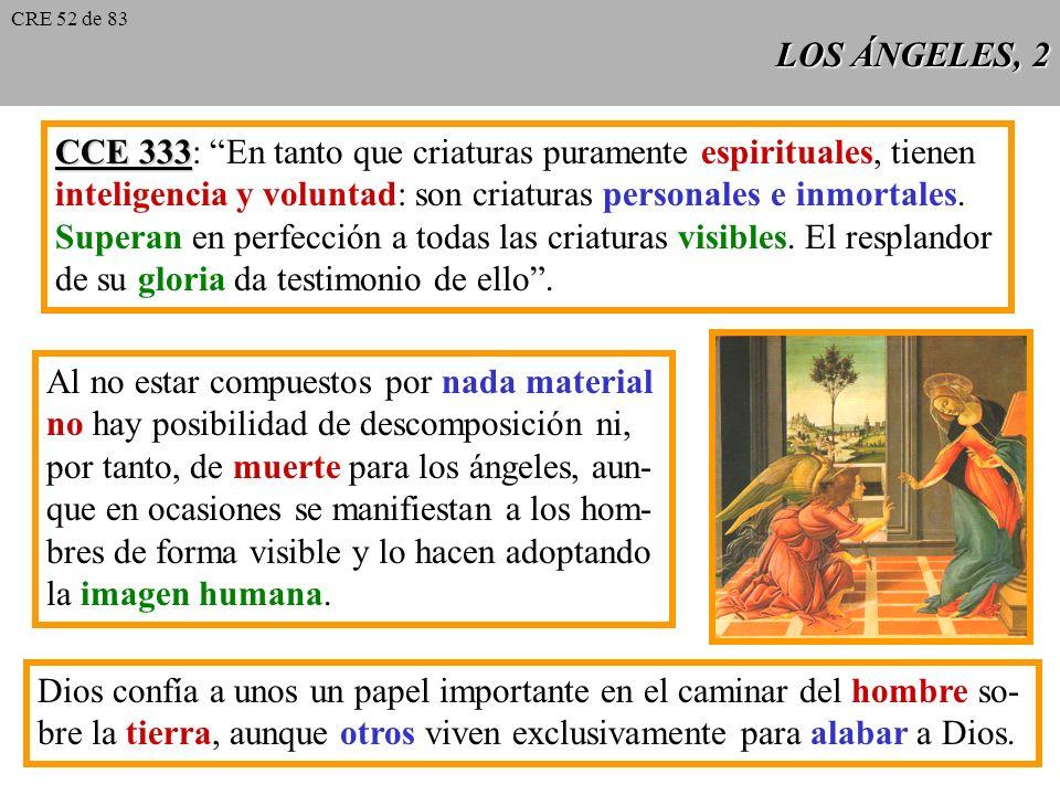 CCE 333: En tanto que criaturas puramente espirituales, tienen