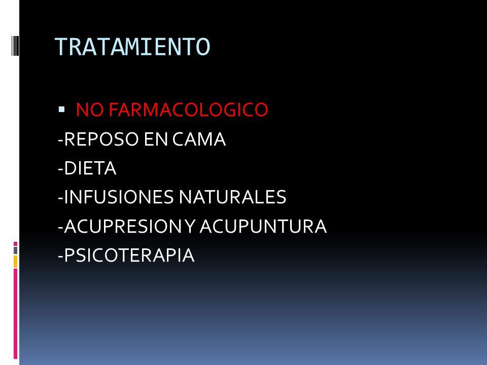 TRATAMIENTO NO FARMACOLOGICO -REPOSO EN CAMA -DIETA