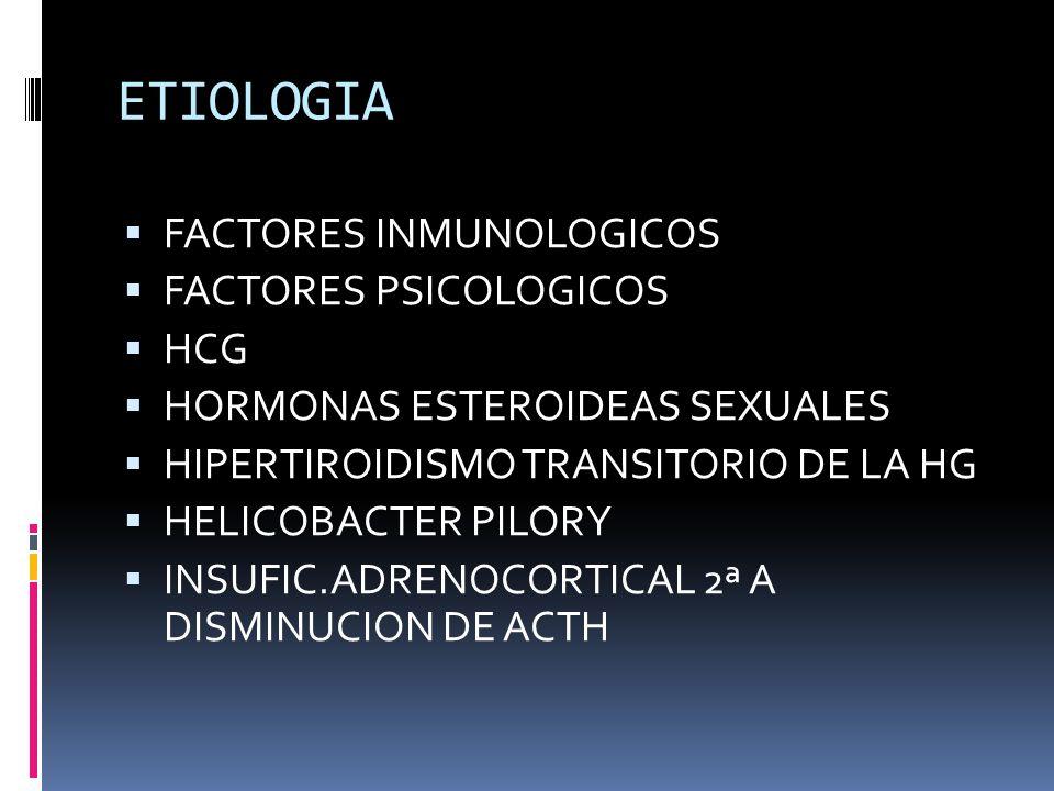 ETIOLOGIA FACTORES INMUNOLOGICOS FACTORES PSICOLOGICOS HCG