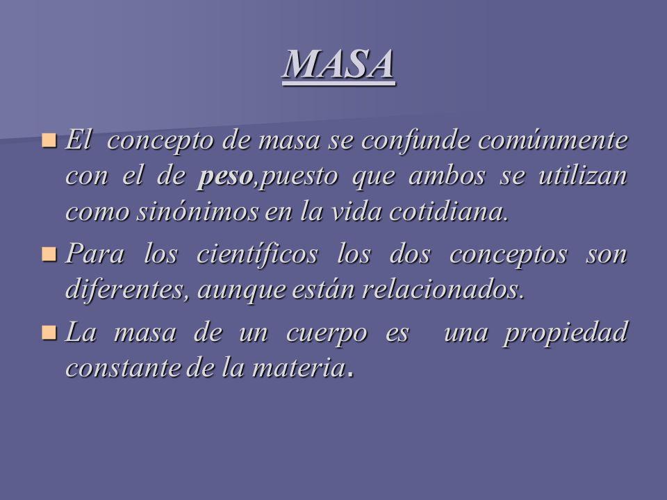 MASA El concepto de masa se confunde comúnmente con el de peso,puesto que ambos se utilizan como sinónimos en la vida cotidiana.