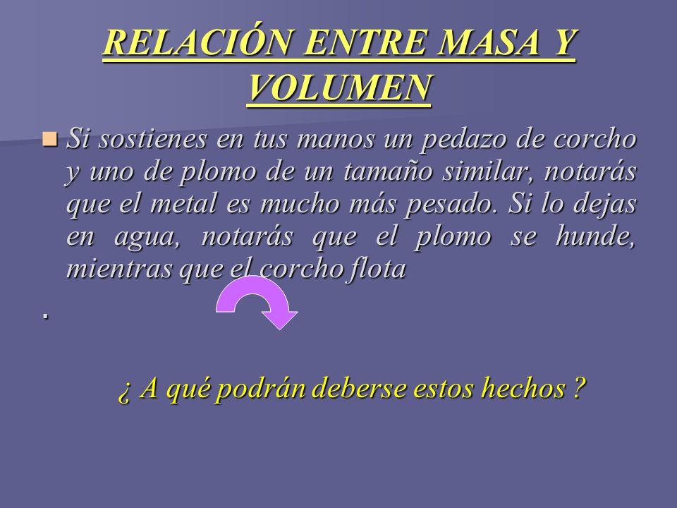 RELACIÓN ENTRE MASA Y VOLUMEN