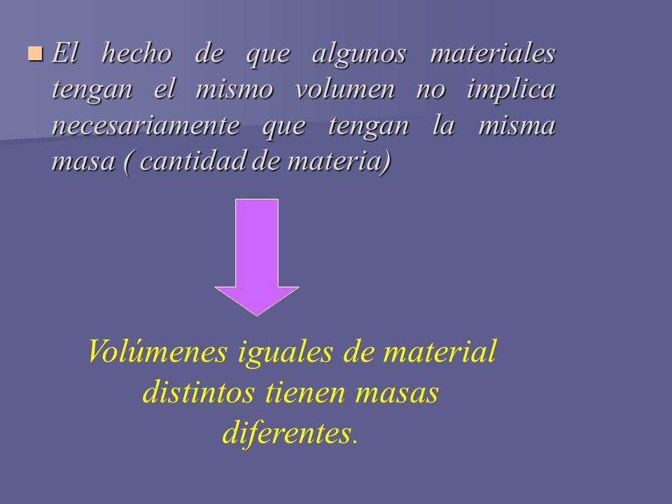Volúmenes iguales de material distintos tienen masas diferentes.