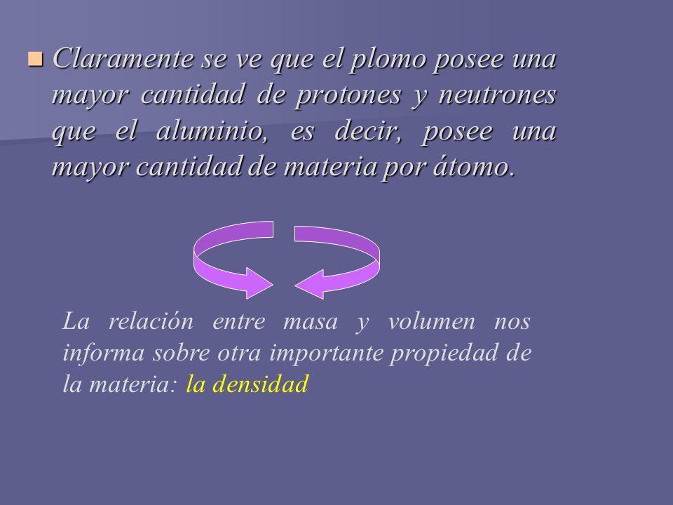 Claramente se ve que el plomo posee una mayor cantidad de protones y neutrones que el aluminio, es decir, posee una mayor cantidad de materia por átomo.