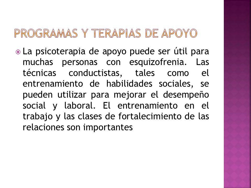 PROGRAMAS Y TERAPIAS DE APOYO