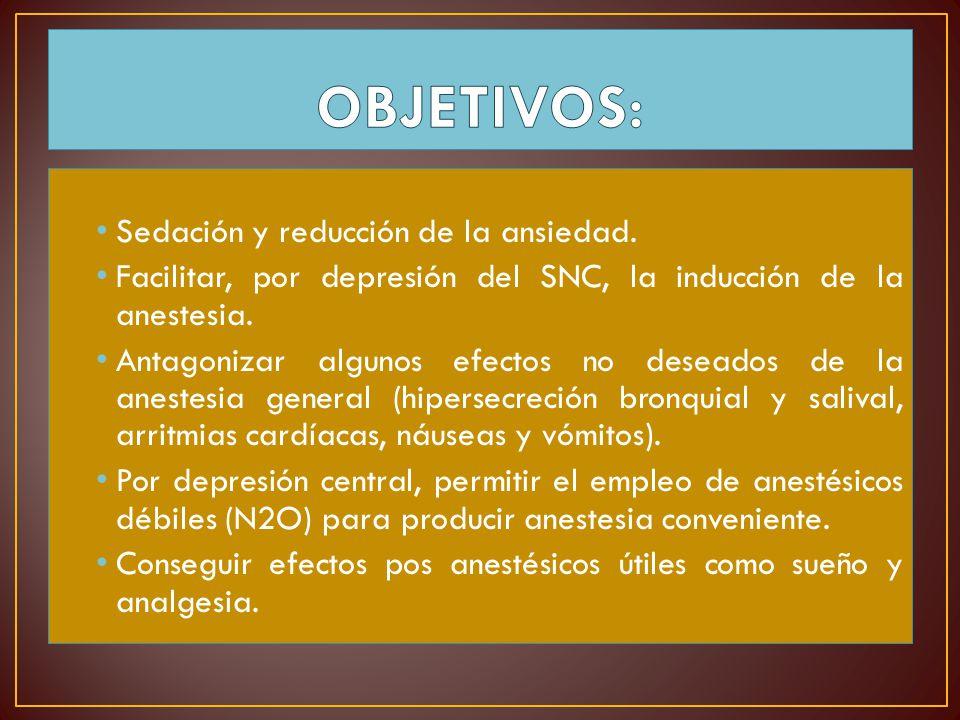 OBJETIVOS: Sedación y reducción de la ansiedad.