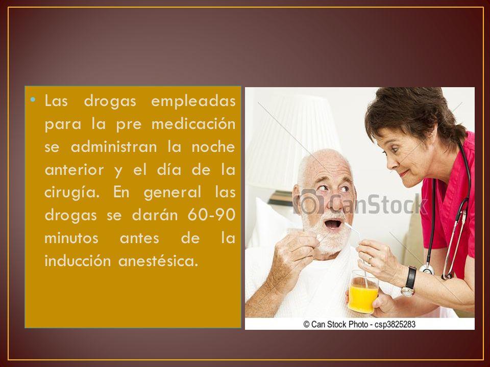 Las drogas empleadas para la pre medicación se administran la noche anterior y el día de la cirugía.