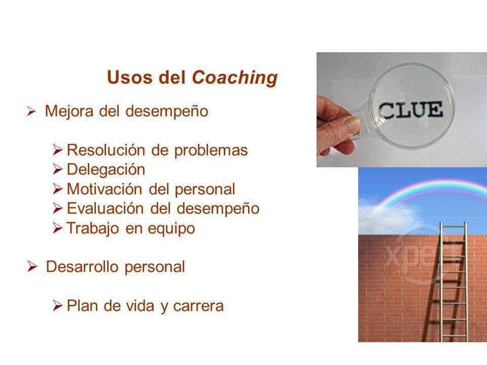 Usos del Coaching Resolución de problemas Delegación
