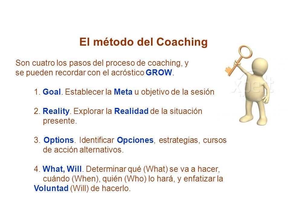El método del Coaching Son cuatro los pasos del proceso de coaching, y. se pueden recordar con el acróstico GROW.