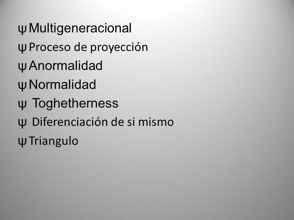 Multigeneracional Proceso de proyección. Anormalidad. Normalidad. Toghetherness. Diferenciación de si mismo.