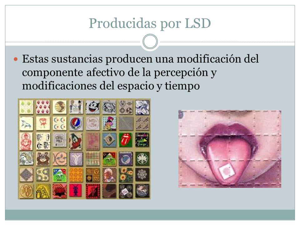 Producidas por LSD Estas sustancias producen una modificación del componente afectivo de la percepción y modificaciones del espacio y tiempo.