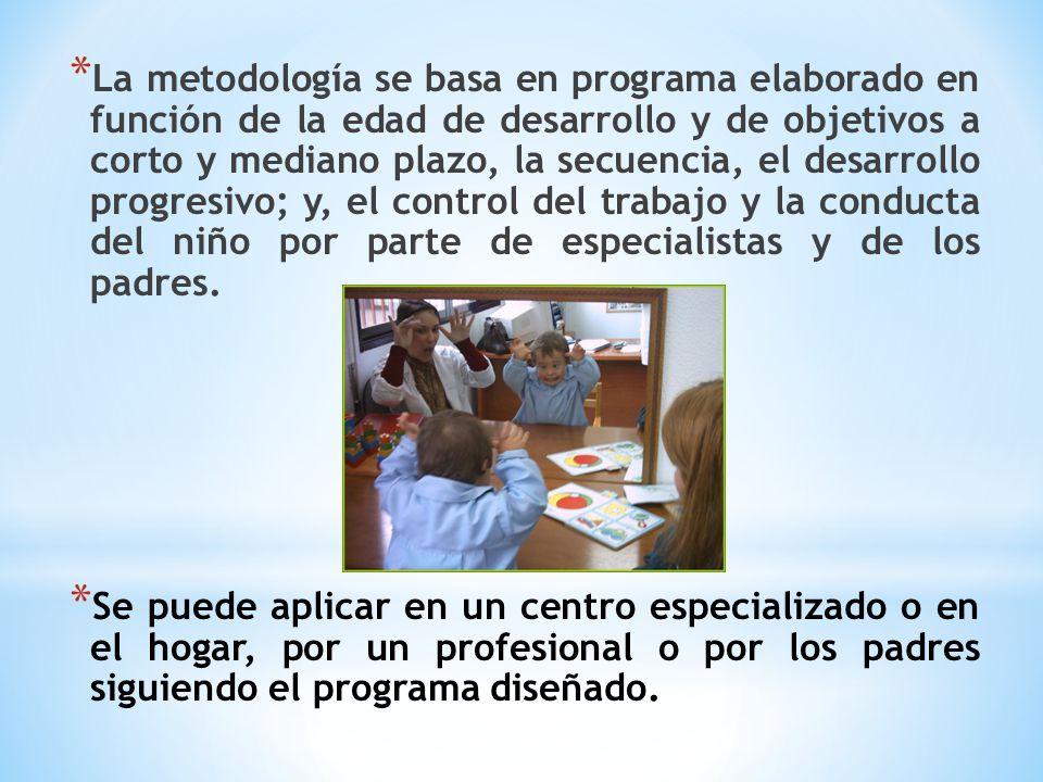 La metodología se basa en programa elaborado en función de la edad de desarrollo y de objetivos a corto y mediano plazo, la secuencia, el desarrollo progresivo; y, el control del trabajo y la conducta del niño por parte de especialistas y de los padres.