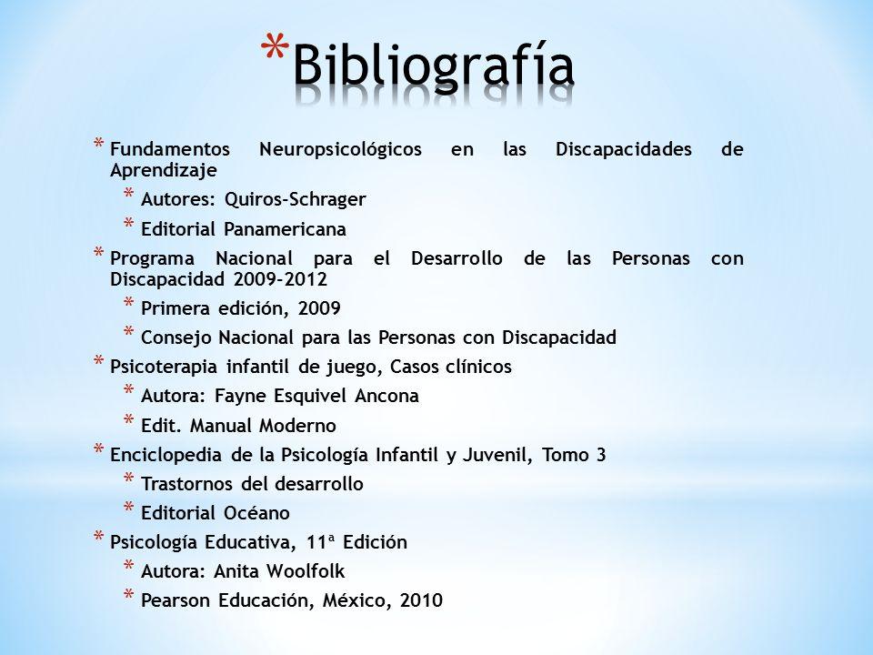 Bibliografía Fundamentos Neuropsicológicos en las Discapacidades de Aprendizaje. Autores: Quiros-Schrager.