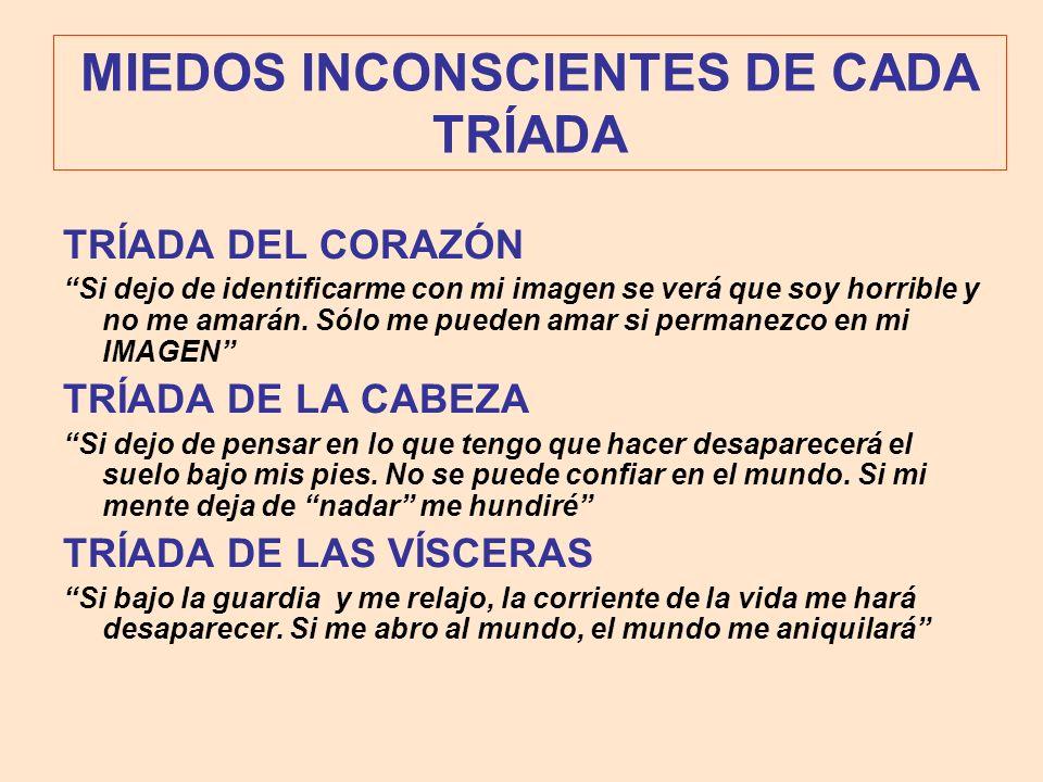 MIEDOS INCONSCIENTES DE CADA TRÍADA