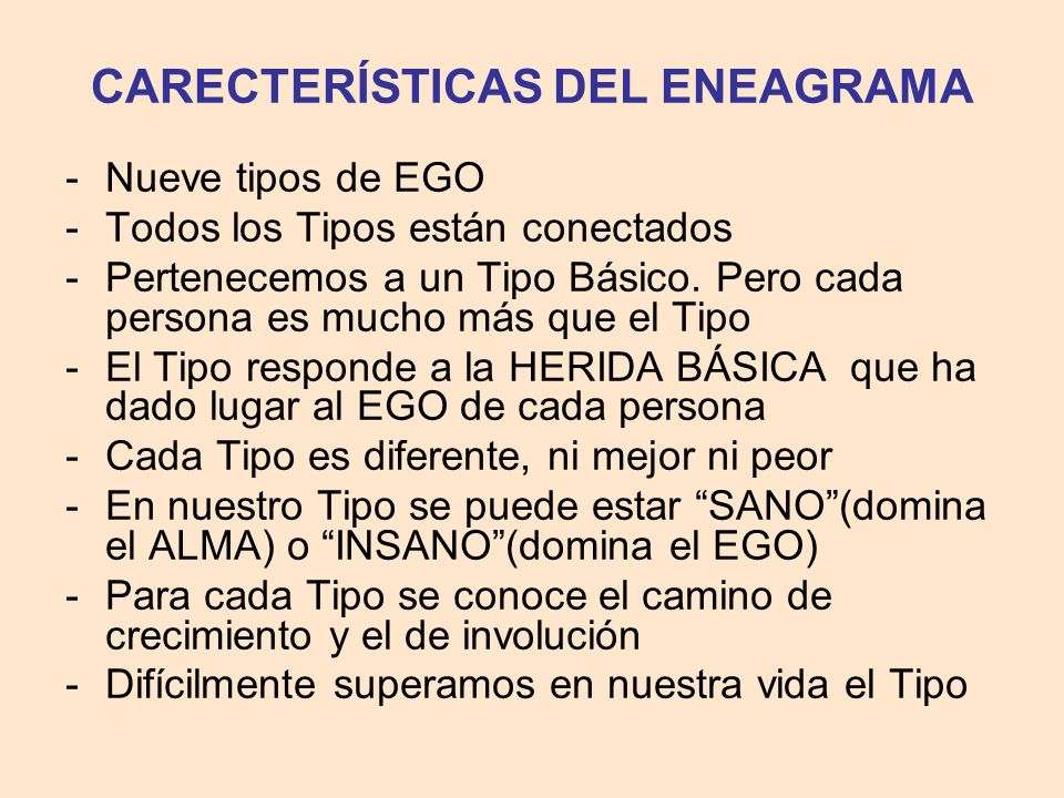 CARECTERÍSTICAS DEL ENEAGRAMA