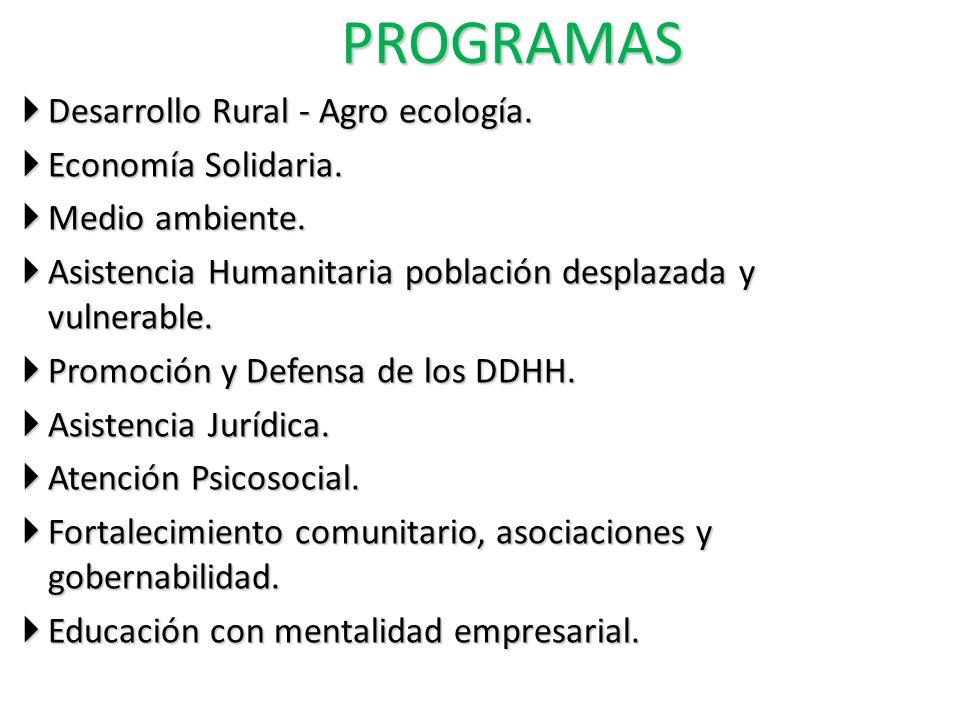 PROGRAMAS Desarrollo Rural - Agro ecología. Economía Solidaria.