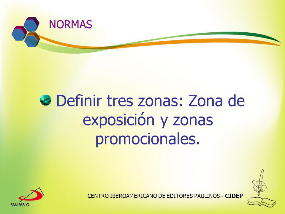 Definir tres zonas: Zona de exposición y zonas promocionales.