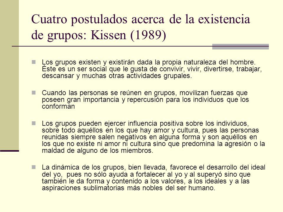 Cuatro postulados acerca de la existencia de grupos: Kissen (1989)