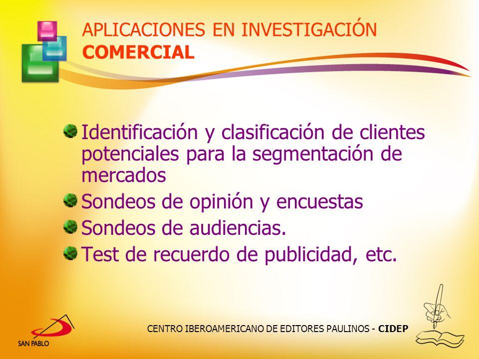 APLICACIONES EN INVESTIGACIÓN COMERCIAL