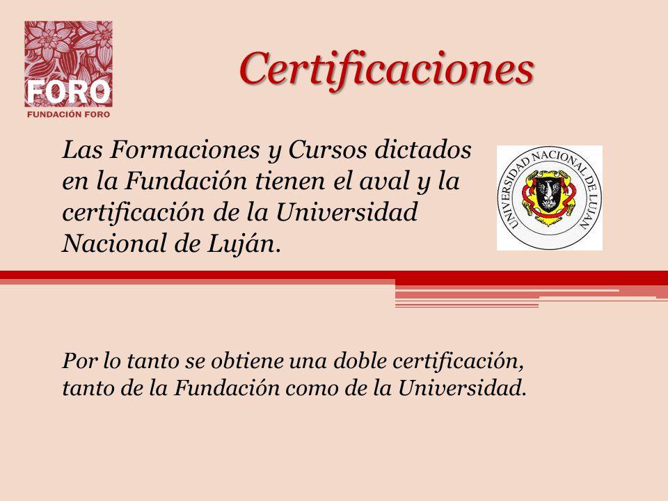 Certificaciones Las Formaciones y Cursos dictados