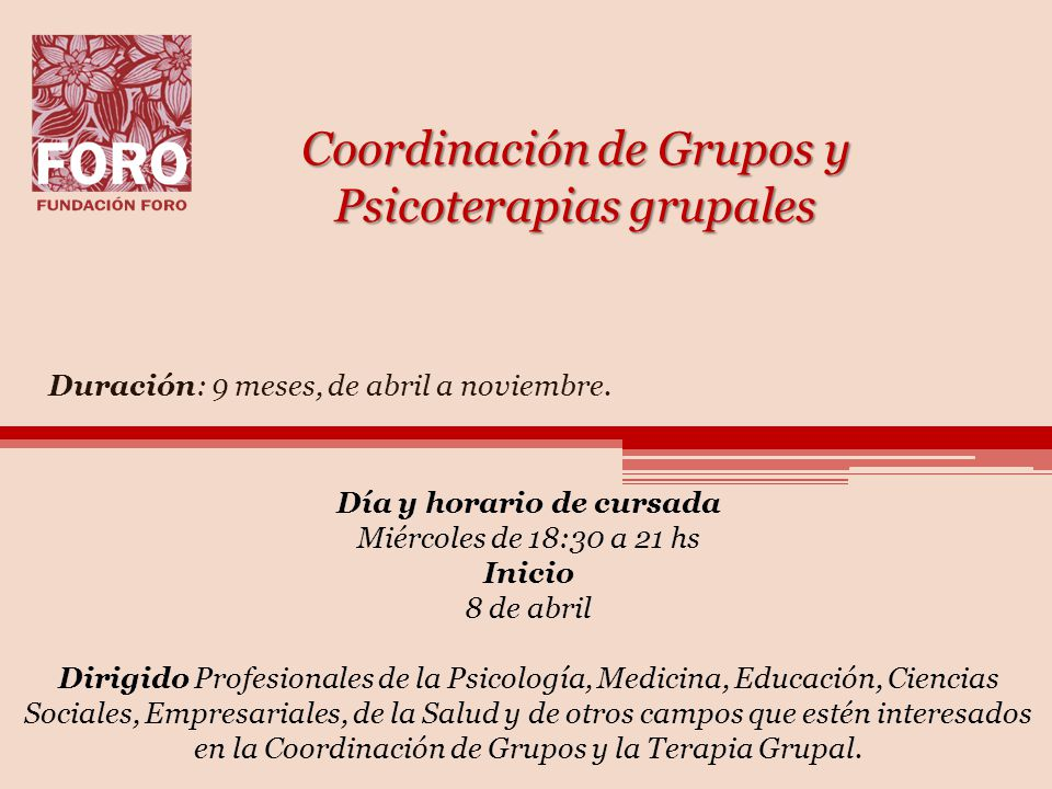 Coordinación de Grupos y Psicoterapias grupales