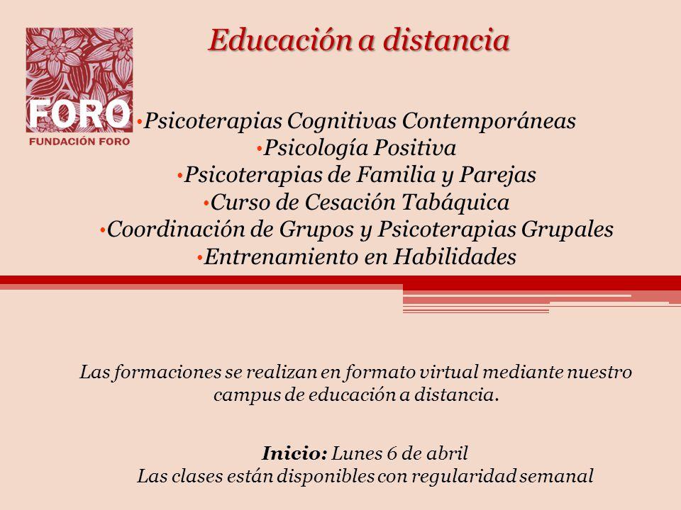 Educación a distancia Psicoterapias Cognitivas Contemporáneas