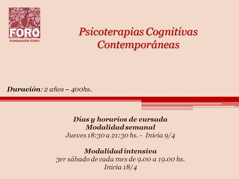 Psicoterapias Cognitivas Contemporáneas