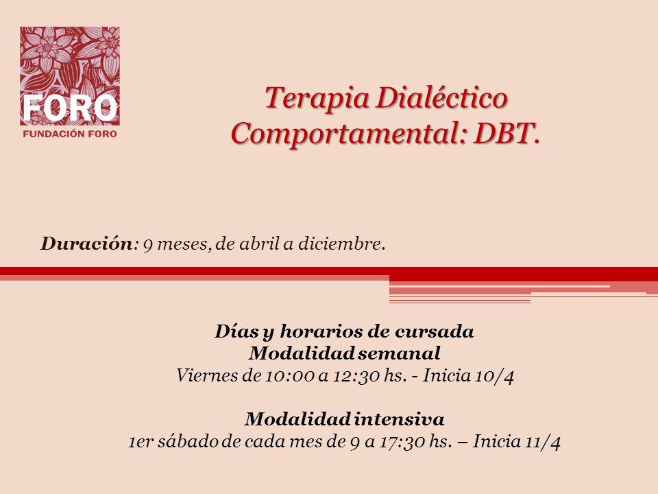 Terapia Dialéctico Comportamental: DBT.